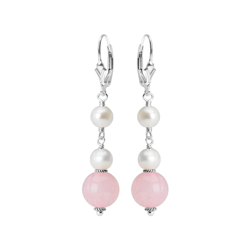 Delightful Faceted Rose Quartz and Fresh Water Pearl Sterling Silver Earrings