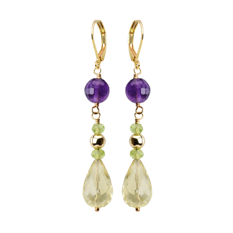 Amethyst and Lemon Quartz Gold Filled Earrings