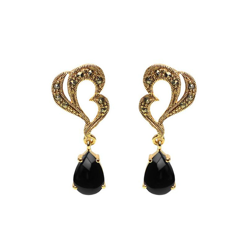 Elegant Marcasite and Black Onyx Gold Plated Earrings