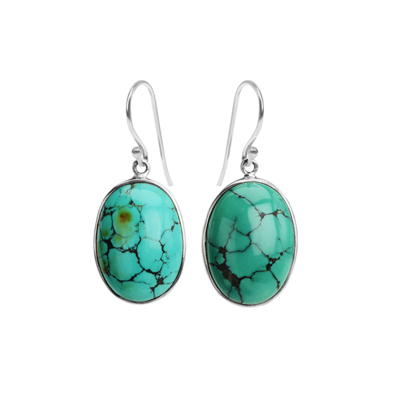 Beautiful Natural Turquoise Large Stone Sterling Silver Statement Earrings