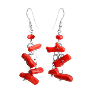 Fun Branch Coral and Chain Sterling Silver Earrings