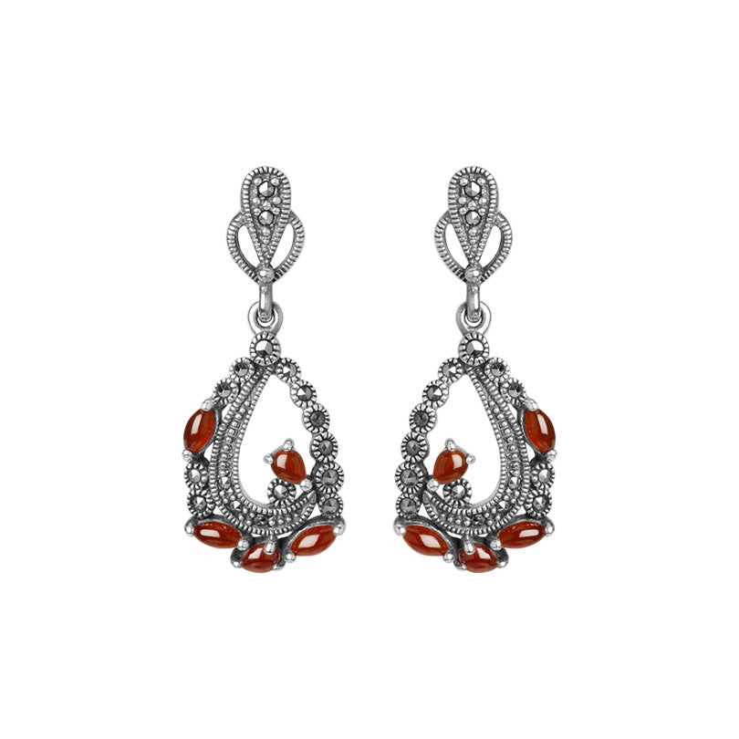 Graceful Marcasite And Carnelian Sterling Silver Earrings