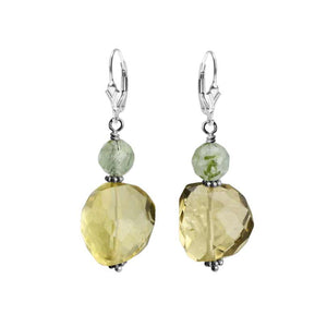 Sparkly Faceted Lemon Quartz and Green Prehnite Sterling Silver Earrings