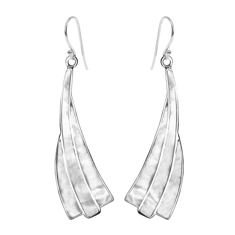 Fantastic Mother of Pearl Sterling Silver Statement Earrings