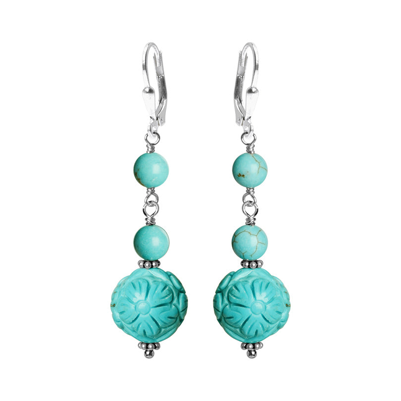 Beautiful Bright Carved Blue Chalk Turquoise Sterling Silver Earrings