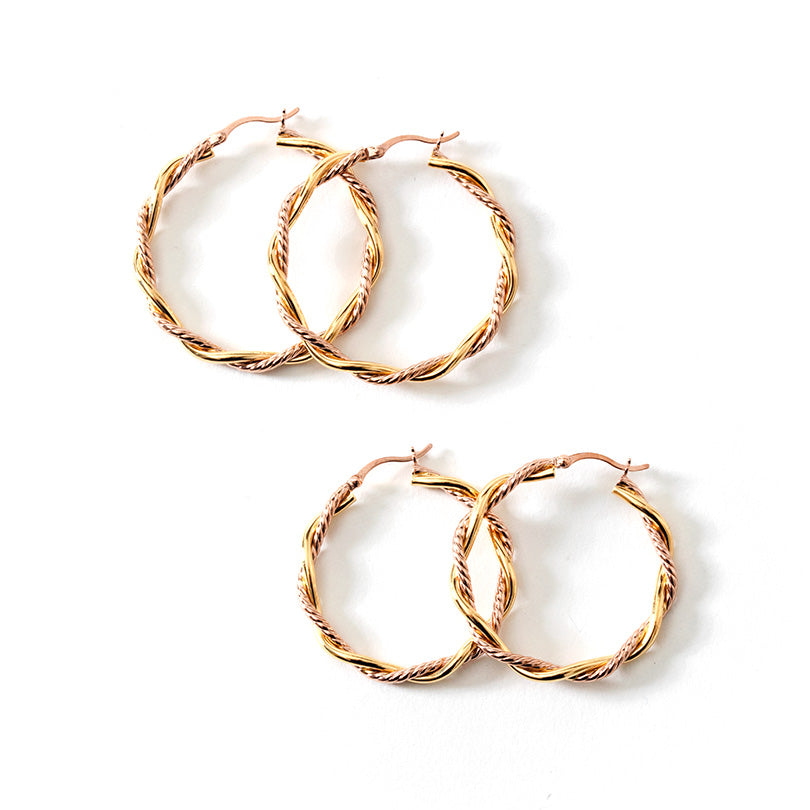Two-Color18kt Gold Plated and Rose Gold Plated Sterling Silver Twist Hoops