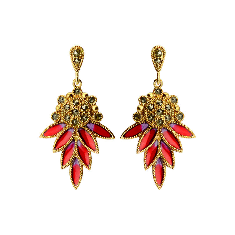 Stunning Marcasite and Red Enamel Gold Plated Earrings