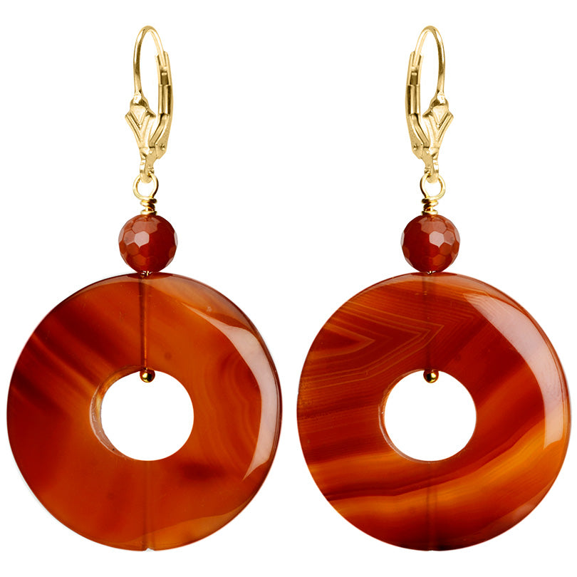 Gorgeous Carnelian Circle Hoop Gold Filled Earrings
