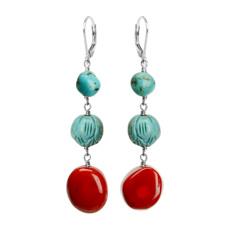 Delightful Coral Sterling Silver Earrings With Carved Chalk Turquoise and Natural Turquoise Accent
