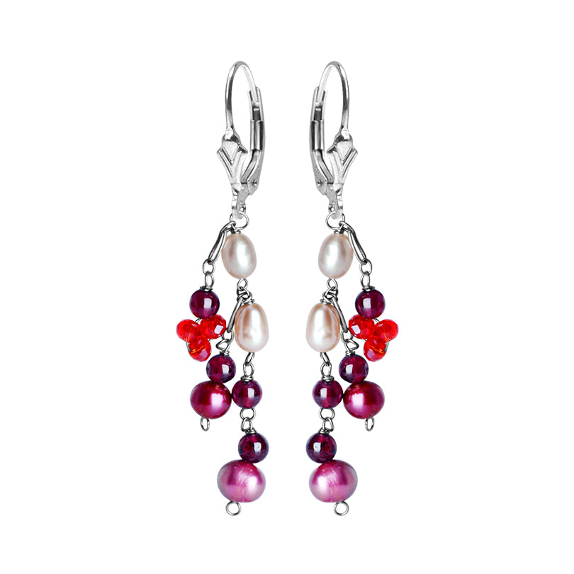 Lovely Delicate Pink Fresh Water Pearl, Garnet and Crystal Sterling Silver Earrings