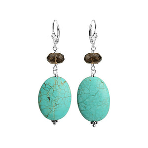 Luxurious Chalk Turquoise and Smoky Quartz Sterling Silver Earrings