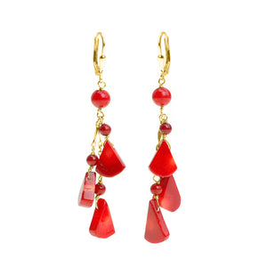 Flirty Coral Gold Filled Hook Earrings