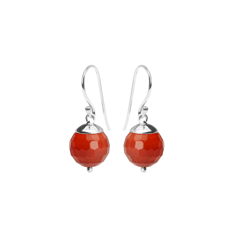 Faceted Carnelian Sterling Silver Earrings