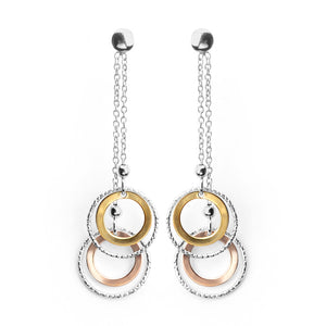 Beautiful 18kt Tri-Color Gold and Rhodium Plated Sterling Silver Italian Circles Earrings