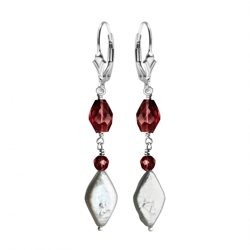 Rich Red Garnet and Radiant Fresh Water Pearl Sterling Silver Earrings