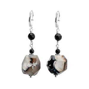 Earthy Agate and Black Onyx Sterling Silver Earrings