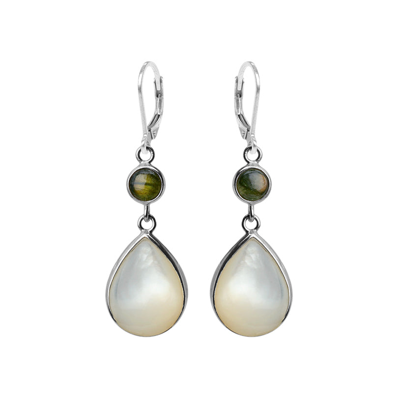 Shimmering Mother of Pearl with Labradorite Sterling Silver Earrings
