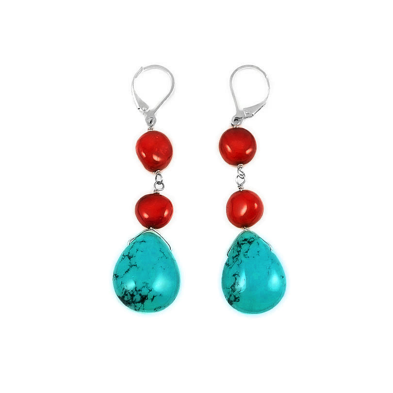 Dreamy, Colorful Coral and Bright Chalk Turquoise Sterling Silver Lever Back Hook Earrings
