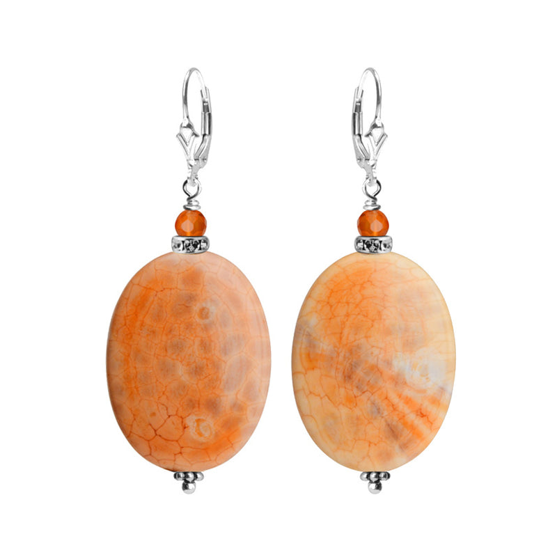 Natural Fire Agate Stones and Carnelian Sterling Silver Earrings