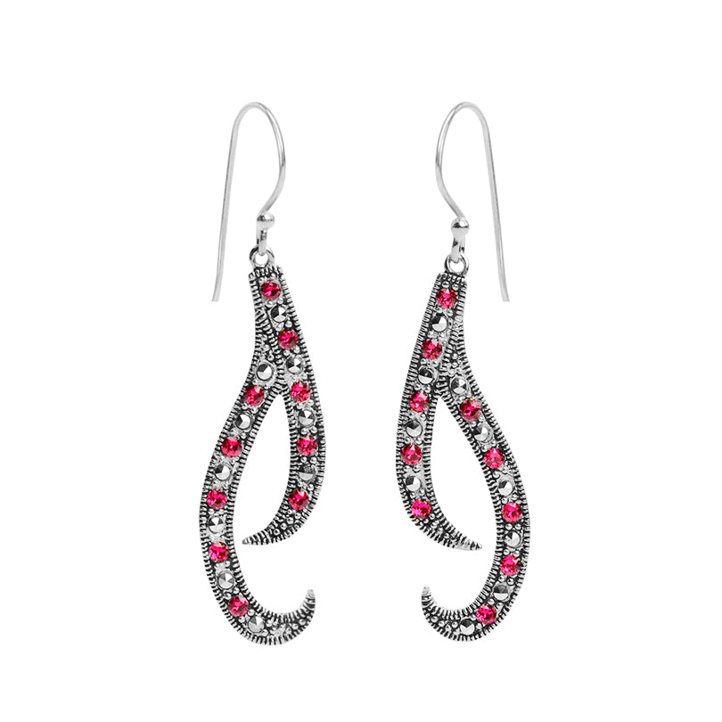 Jazzy Marcasite and Red Crystals Sterling Silver Earrings