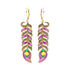 Gorgeous Gold Plated Marcasite Rich Purple Enamel Peacock Feather Earrings