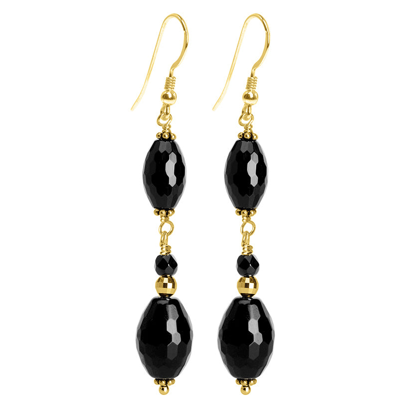 Dazzling Black Onyx Faceted Marquise Gold Filled Earrings