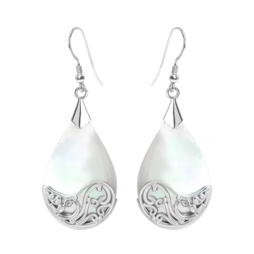 White Shell Mother of Pearl with Balinese Design Sterling Silver Earrings