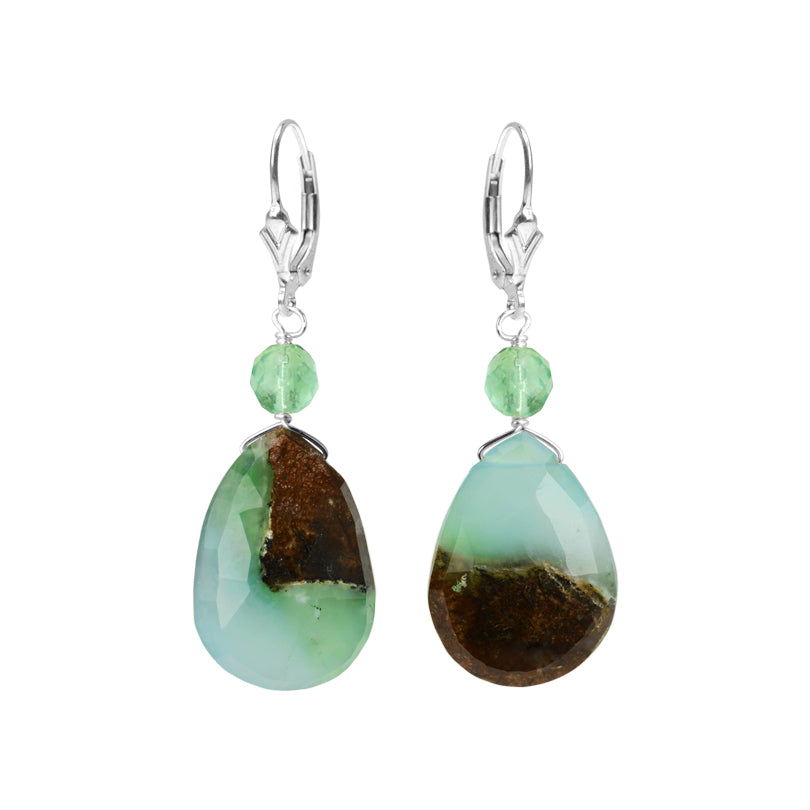 Gorgeous Natural Chrysoprase and Faceted Fluorite Sterling Silver Earrings