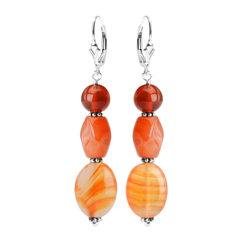 Vibrant Carnelian Stones Sterling Silver Statement Earrings