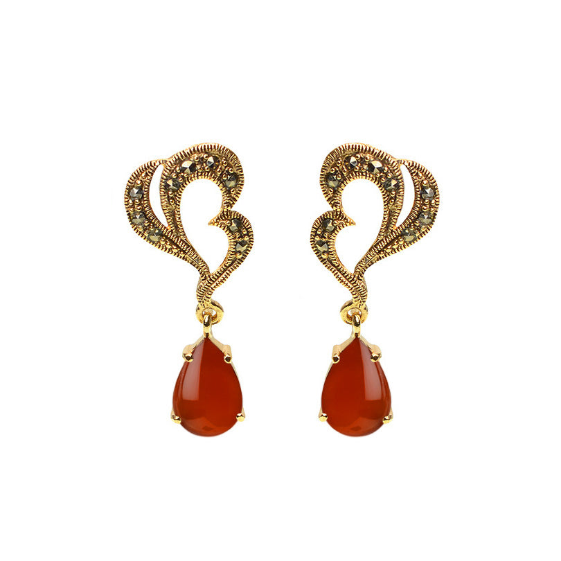Elegant Marcasite and Carnelian Gold Plated Earrings
