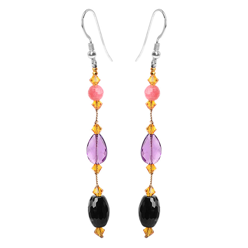 Mixed Gems Amethyst, Black Onyx and Pink Jade Sterling Silver Earrings