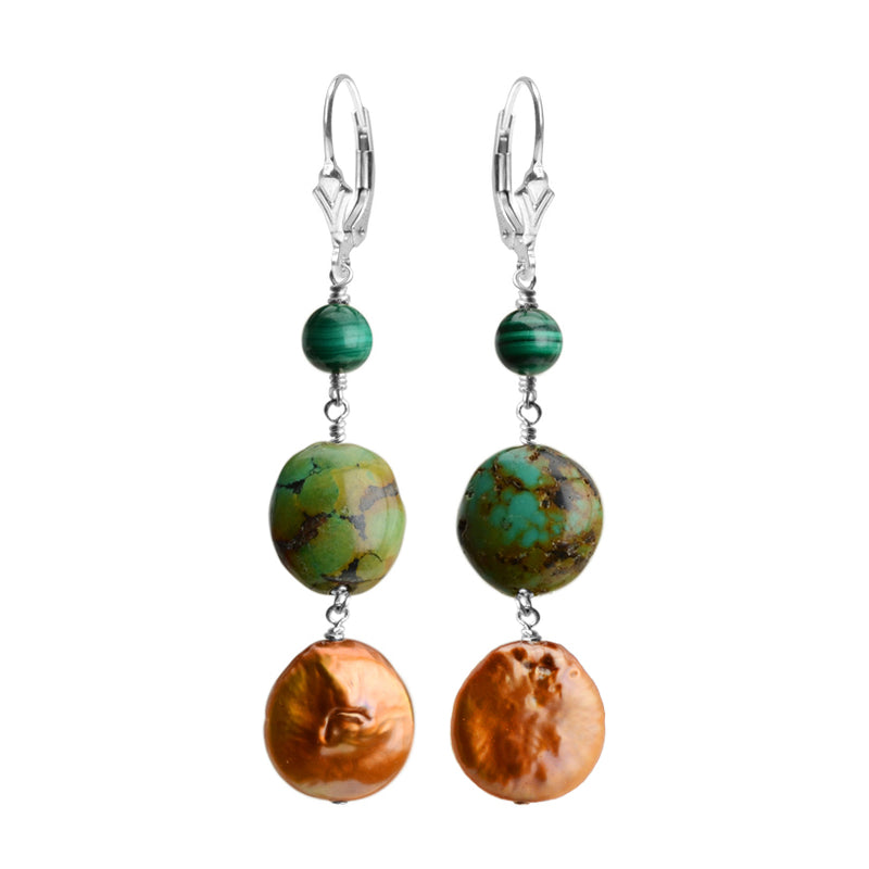 Shimmering Coppery Coin Pearl, Turquoise and Malachite Sterling Silver Earrings