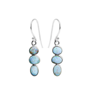 Luxurious 3-Stone Australian Blue Opal Sterling Silver Earrings
