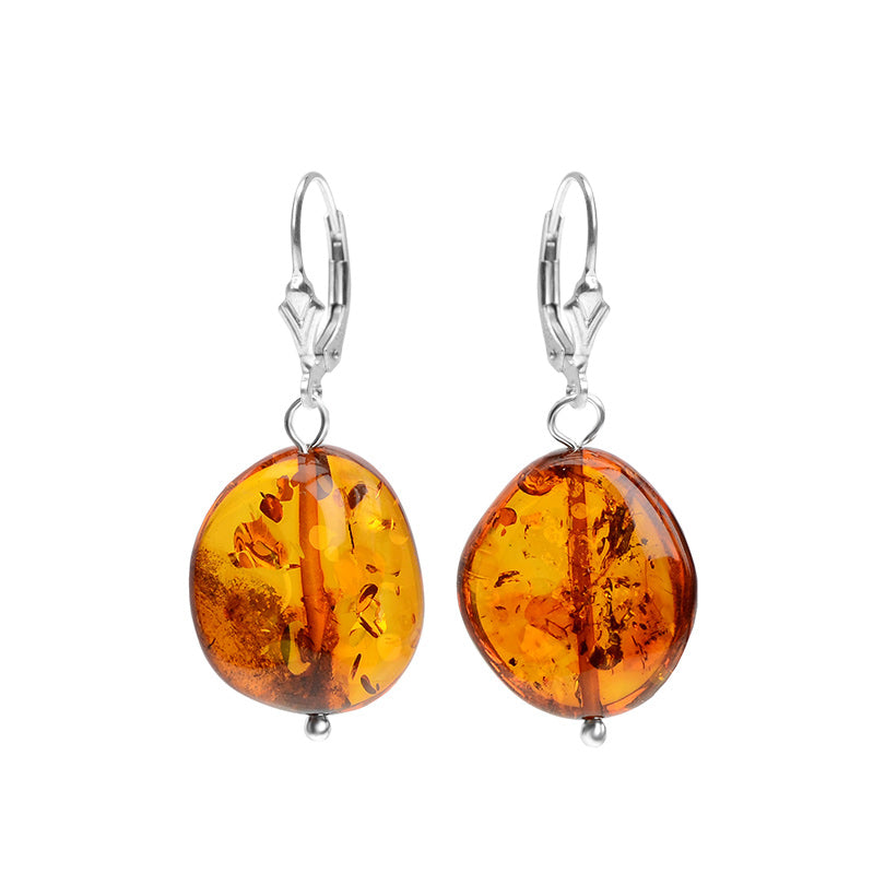 Honey Cognac Baltic Amber Earrings on Sterling Silver Lever-Back Hooks
