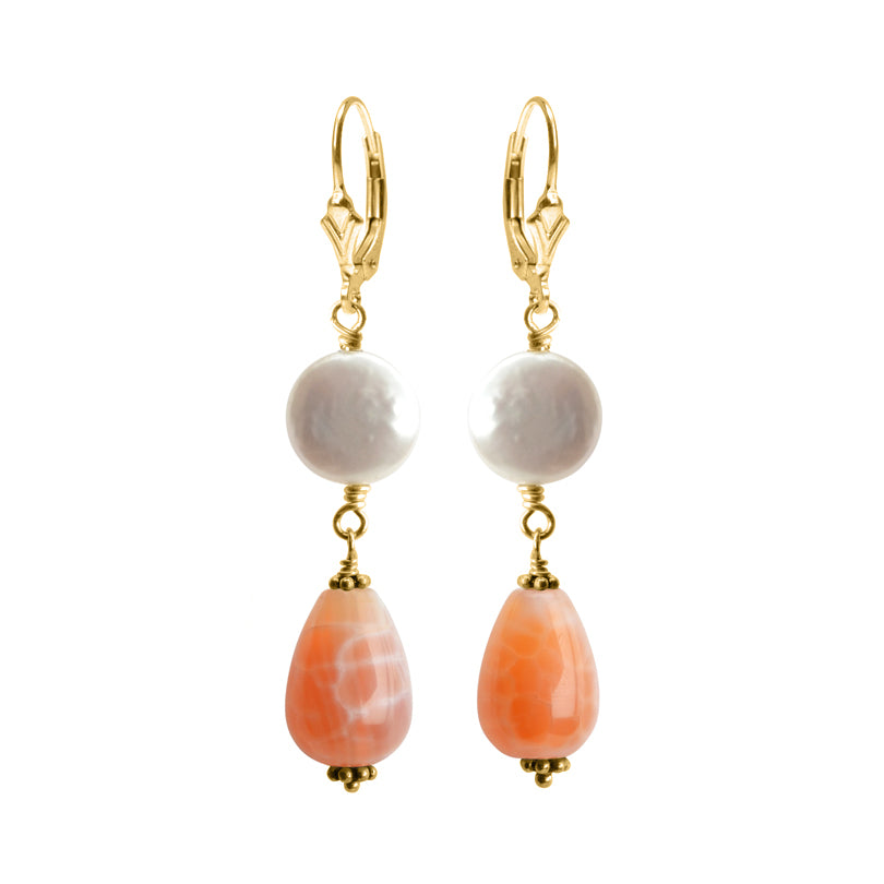 Natural Fire Agate and Coin Pearl Gold Filled Earrings