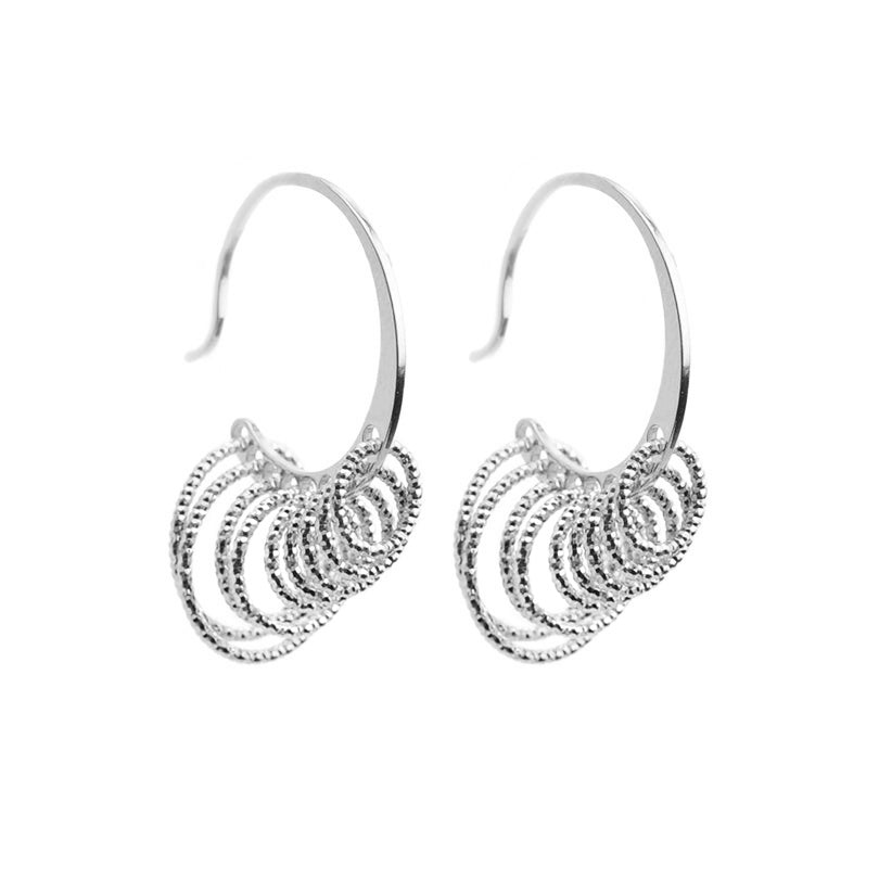 Sparkling Rhodium Plated Italian Sterling Silver Dangling Circles Earrings