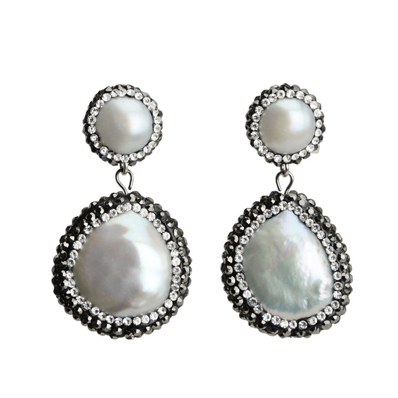 Gorgeous Fresh Water Pearl with Sparkling Hematite and Crystal Earrings