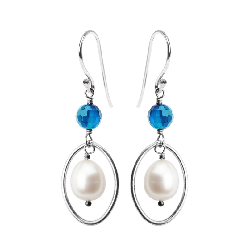 Lustrous White Fresh Water Pearl and Brilliant Blue Agate Sterling Silver Earrings