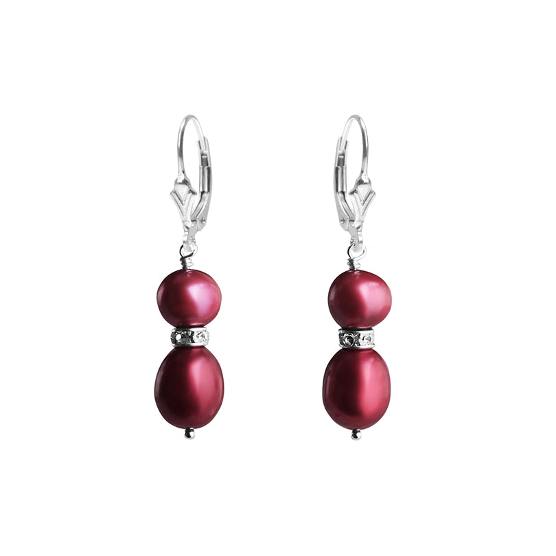 Shimmering, Velvety Red Fresh Water Pearl and Crystal Sterling Silver Earrings