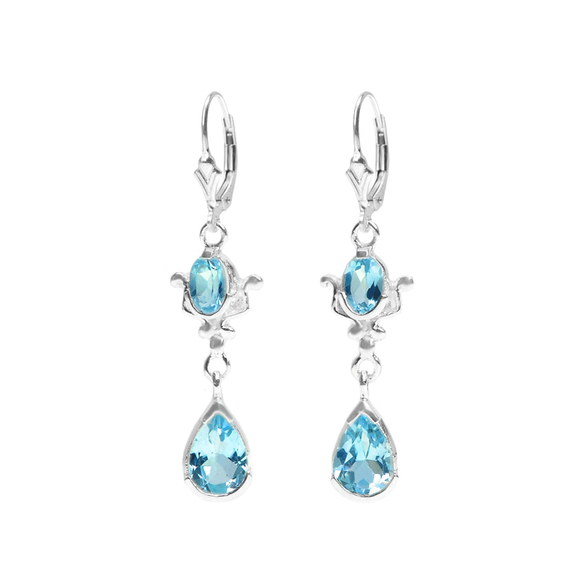 Princess Style Blue Topaz Sterling Silver Earrings