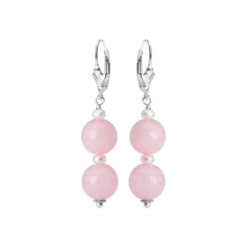 Flirty Rose Quartz and Fresh Water Pearl Sterling Silver Earrings