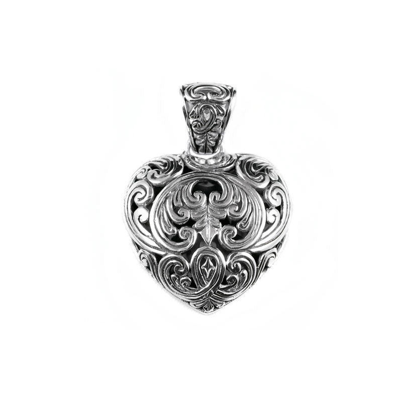Lovely Balinese Filigree Heart Sterling Silver Pendant
