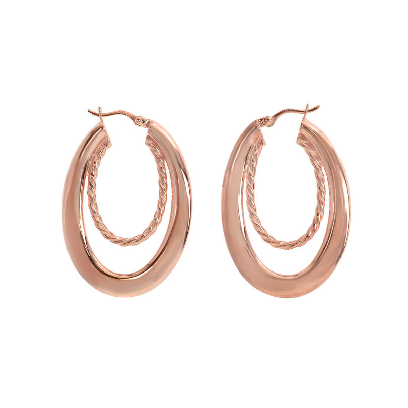 Stunning Oval Hoop Sterling Silver Statement Earrings (in 2 colors)