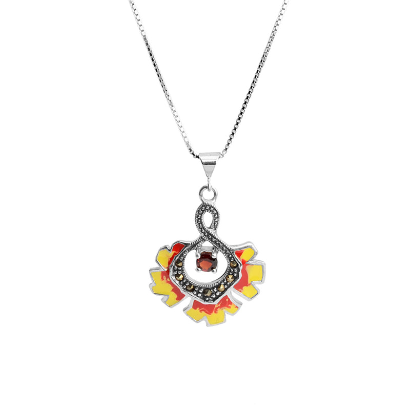 Sunny Sunflower with Garnet and  Marcasite  Sterling Silver Necklace