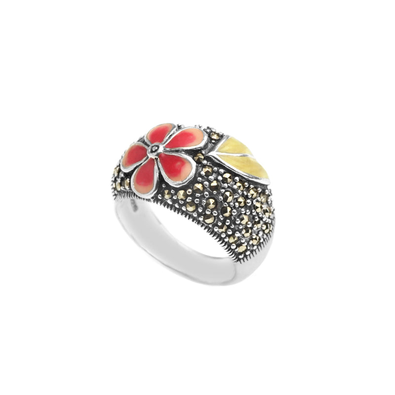 Lovely Enamel Flower on Marcasite Sterling Silver Ring