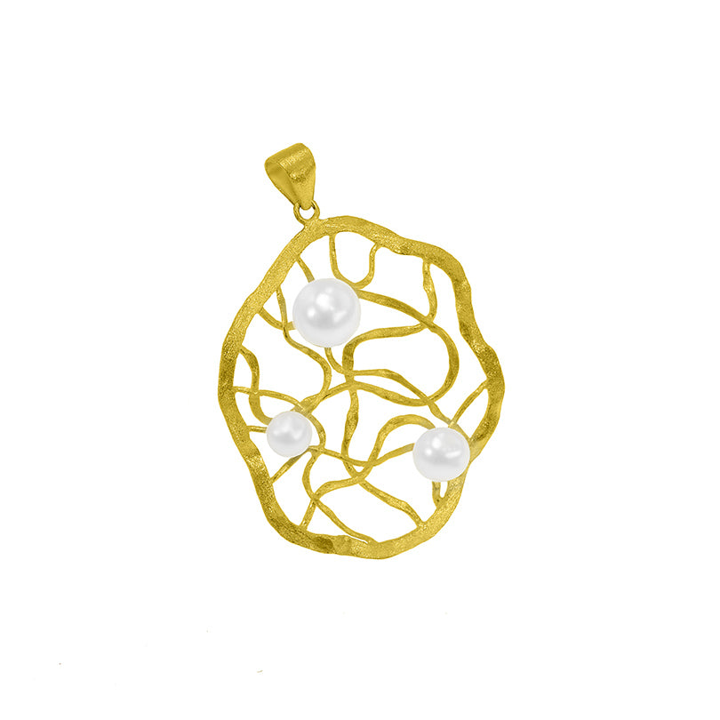 Lovely 18kt Brushed Gold Plated Silver Pendant With Fresh Water Pearls