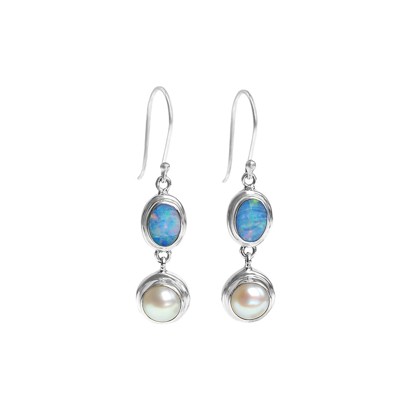 Elegant Australian Blue Opal and Fresh Water Pearl Sterling Silver Earrings