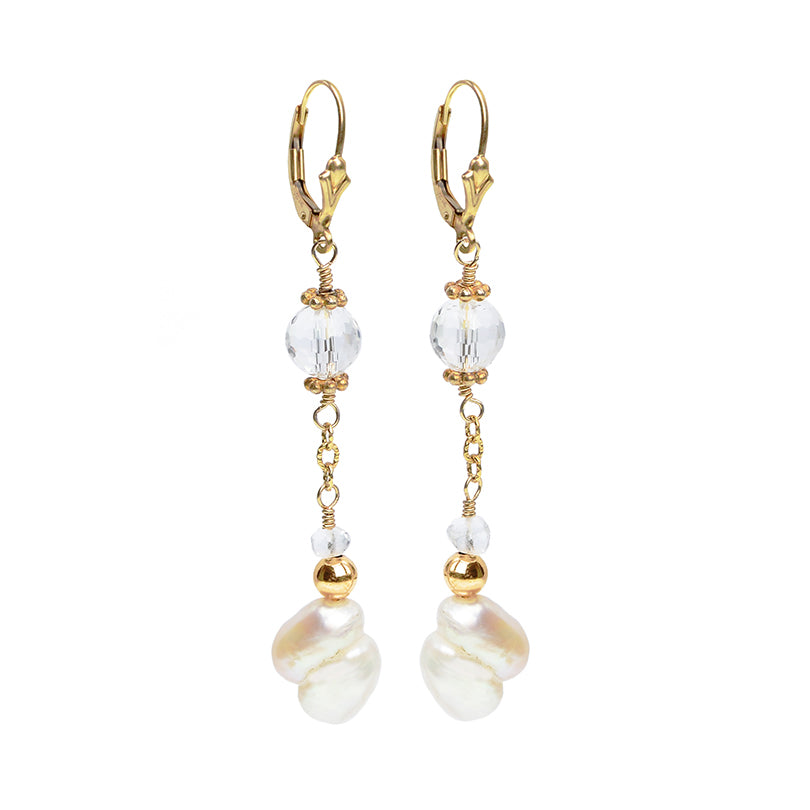 Alluring Fresh Water Pearl and Crystal Earrings on Gold Filled Hooks