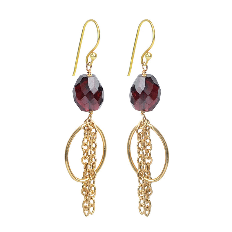 Beautiful Faceted Garnet Gold Chain Earrings