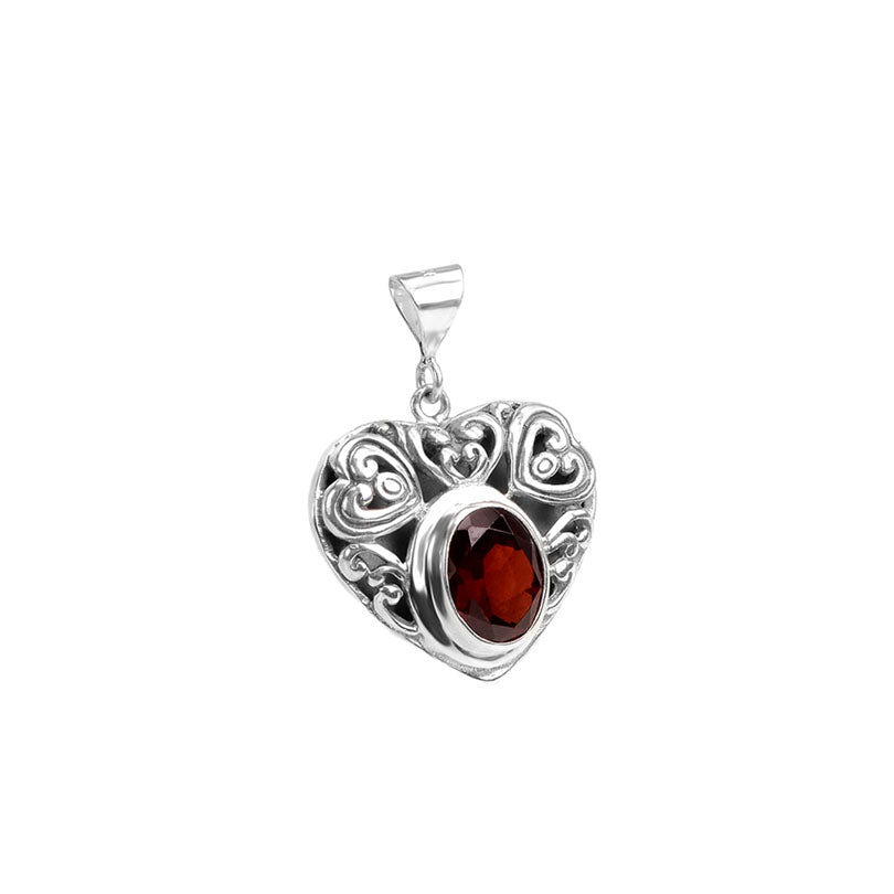 Small Heart Garnet Sterling Silver Pendant (Chain Included)